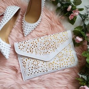 Handbags - White & Gold Laser Cut Envelope Clutch